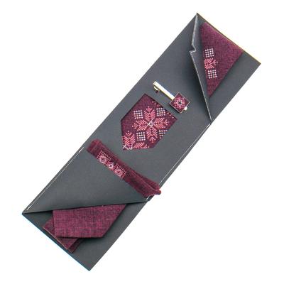 Вишита краватка з хустинкою та зажимом №865