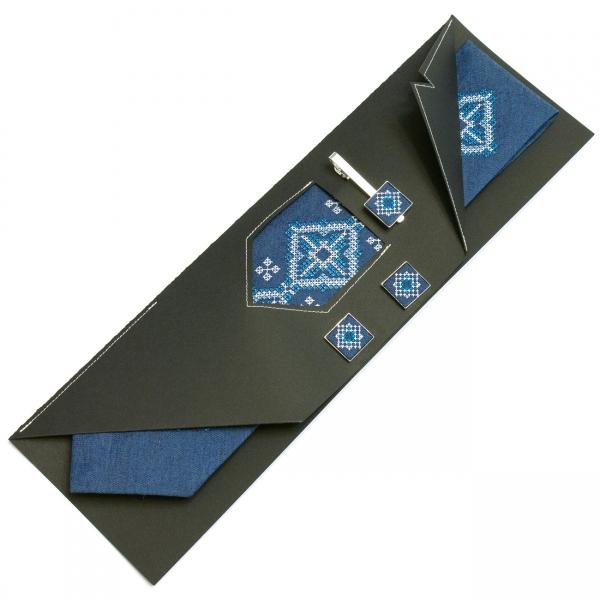 Джинсовий набір Мороз краватка + зажим + запонки
