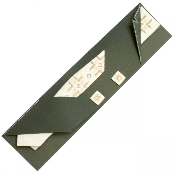 Вузька вишита краватка із запонками Яролюб