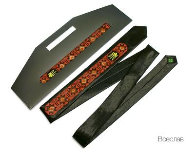 Вузький галстук з вишивкою Всеслав