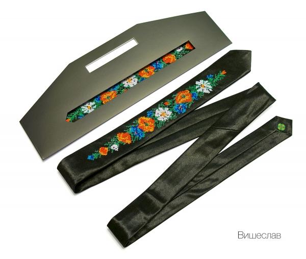 Вузький галстук з вишивкою Вищеслав