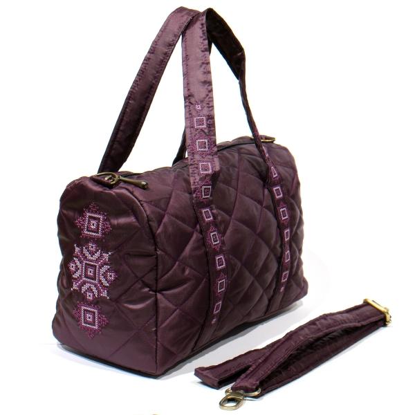 Вишита сумка-бочонок баклажан №772