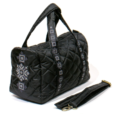 Вишита сумка-бочонок чорна №769