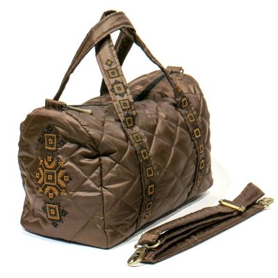 Вишита сумка-бочонок коричнева №768