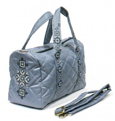 Вишита сумка-бочонок сіра №770