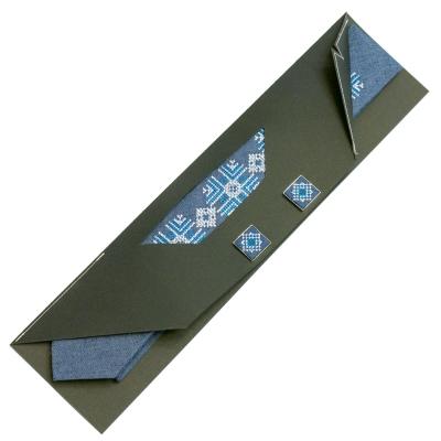 Вузька вишита краватка із запонками Майслав