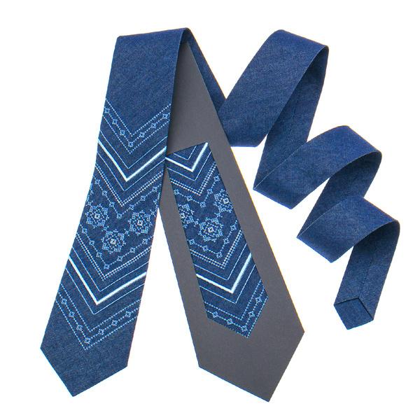 Джинсова краватка з вишивкою №897
