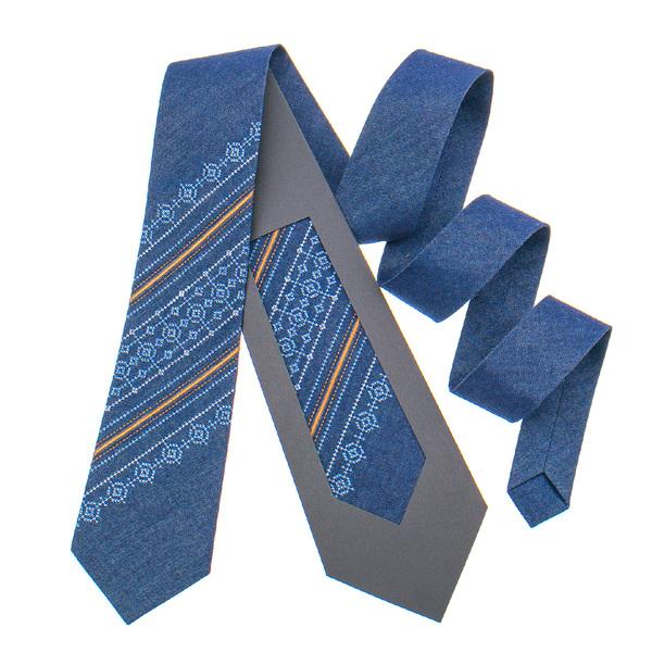 Джинсова краватка з вишивкою №898
