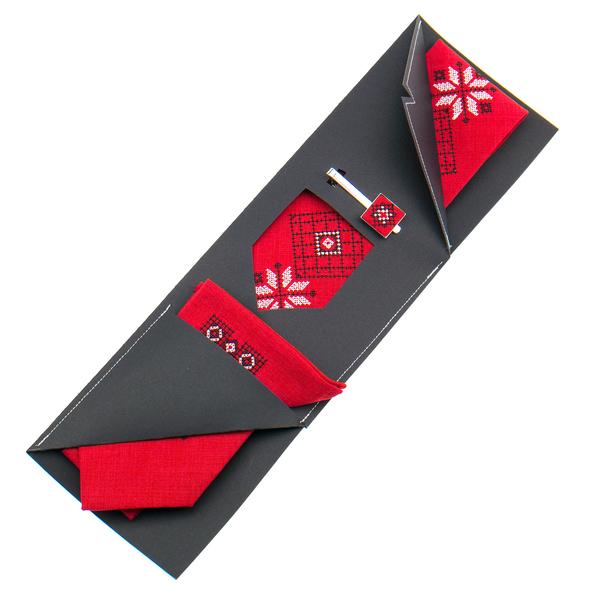 Вишита краватка з хустинкою та зажимом №852