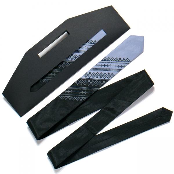 Галстук з вишивкою Чорно-сірий дует (вузький)